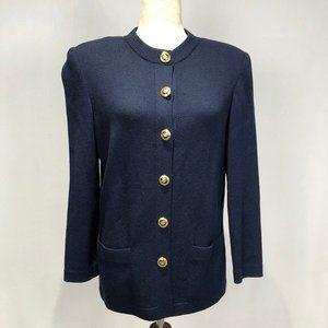 St. John Santana Knit Navy Blue Cardigan Jacket
